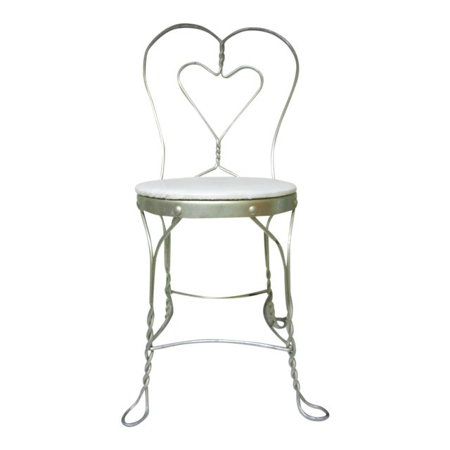 Vintage Metal Ice Cream Parlor Chair with Heart - Image 1 of 10
