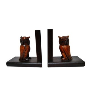 Mid-Century Carved Wood Bookends - A Pair