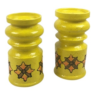 Large Raymor Italian Pottery Pillar Candle Holders- a Pair