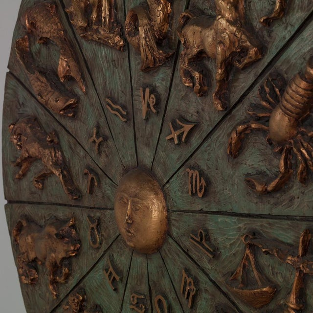 Image of Patinated and Gilt Resin Zodiac Wall Sculpture