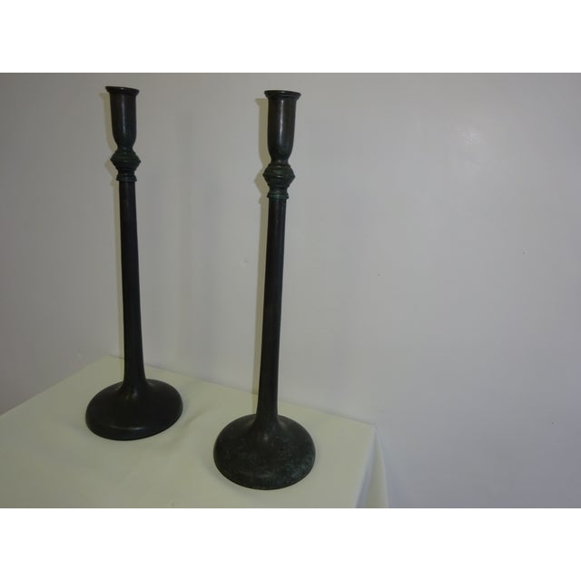 Image of Bronze Maitland Smith Candle Holders 1980S