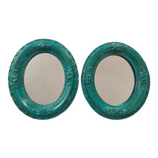Antique Oval Turquoise Mirrors - A Pair