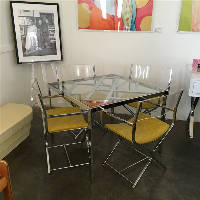 Chrome and Glass Game and or Dining Table and Four Chrome and Lucite Armchairs - Image 2 of 11