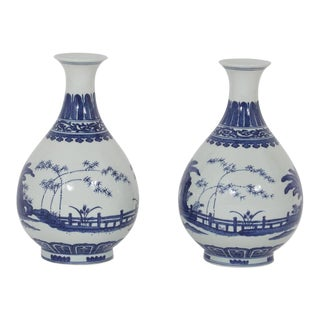 A Pair of Blue and White Chinese Export Style Modern Chinese Porcelain Vases