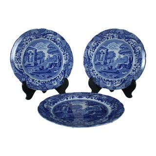 Flow Blue Spodes of England Plate - Set of 3