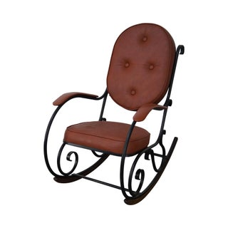Carolina Forge Scrolled Metal Tufted Woodland Rocker