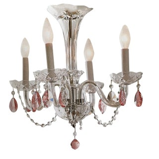 Pink Crystal 4-Arm Chandelier