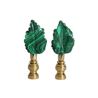 Malachite and Brass Leaf Finials - A Pair