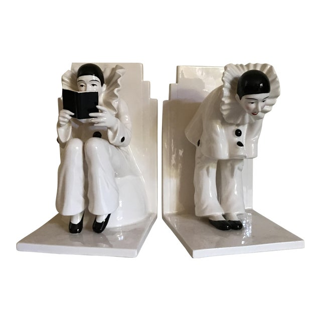 Vintage Tastesetter Ceramic Pierrot Bookends - A Pair - Image 1 of 7