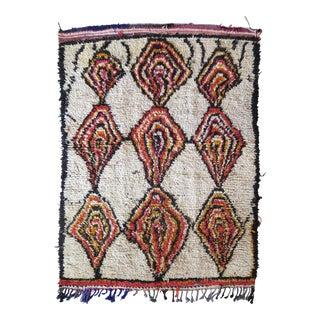 Vintage Moroccan Berber Wool Azilal Rug - 4′3″ × 6′