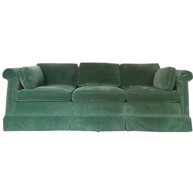 Baker emerald green velvet sofa chairish for Emerald green sectional sofa