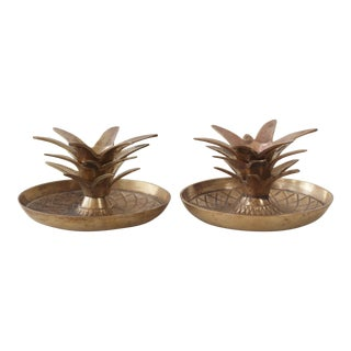 Brass Pineapple Candle Holders - A Pair