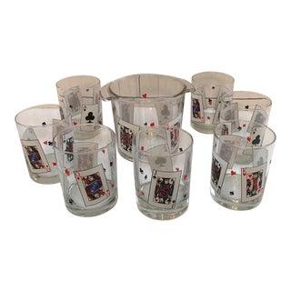Aces Highball Glasses & Ice Bucket - Set of 8