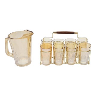 Mid Century Modern Glass Pitcher, Glasses & Caddy - Set of 8