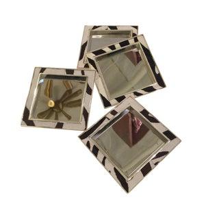 Chrome & Cowhide Zebra Pattern Coasters - Set of 4