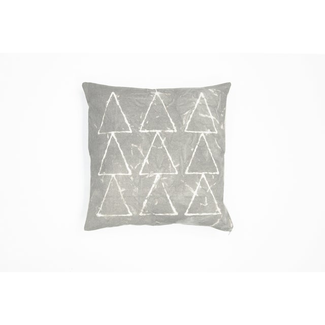 Hand Dyed Grey Geometric Pillow Cover - Image 2 of 7