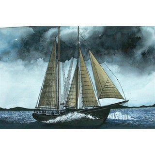 """""""A Blustery Day on the Santa Barbara Channel"""" Watercolor Painting by Roger Herman Schmitt"""