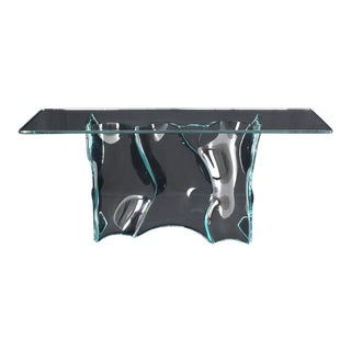 Outstanding Free-Form Molded Glass Wave Pattern Console Table