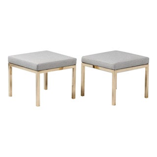 Milo Baughman Faux Ostrich Upholstered Brass Benches- A Pair