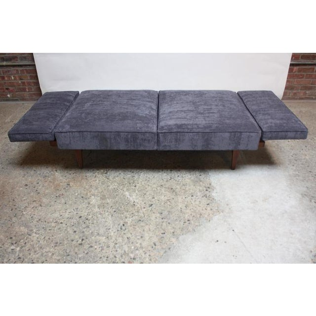 Danish Modern Convertible Daybed/Sofa on Chrome and Walnut Base - Image 9 of 11