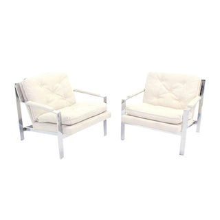 Pair of Chrome Baughman Lounge Chairs with New Upholstery