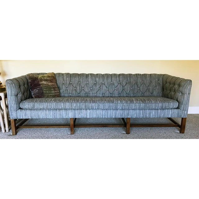 Vintage Gray Tufted Sofa & Pillow - Image 7 of 7