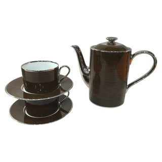 Marc Blackwell Mahogany Coffee Pot & 2 Coffee Cups