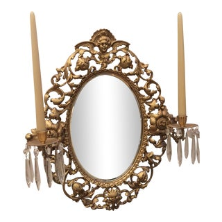 Antique Gold Mirror With Crystal Candles