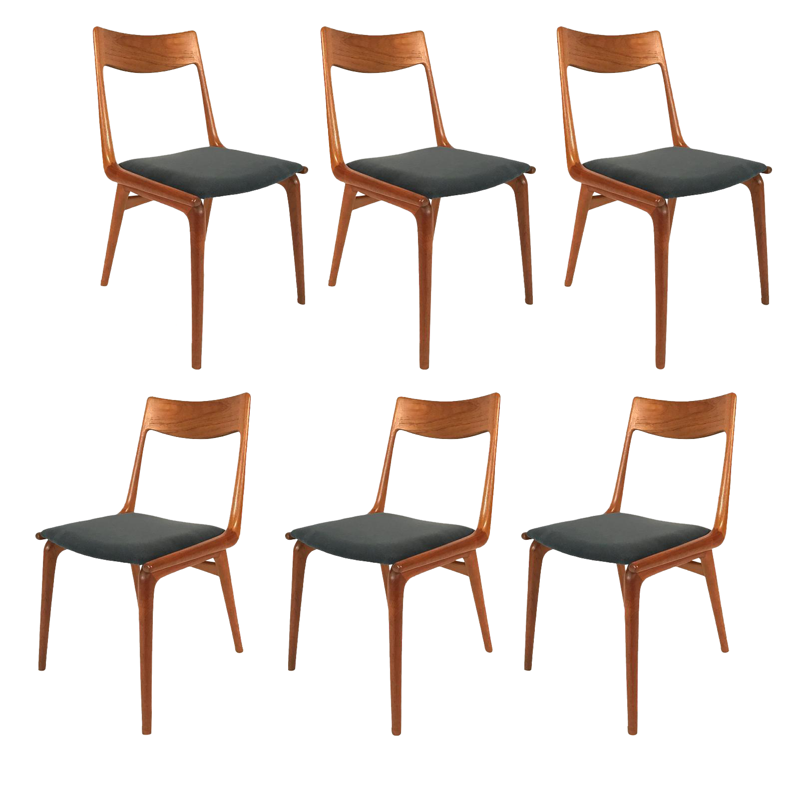 Set Of 6 Danish Teak Boomerang Dining Chairs By Erik Christiansen For  Slagelse   Image 1