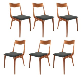 Set of 6 Danish Teak Boomerang Dining Chairs by Erik Christiansen for Slagelse