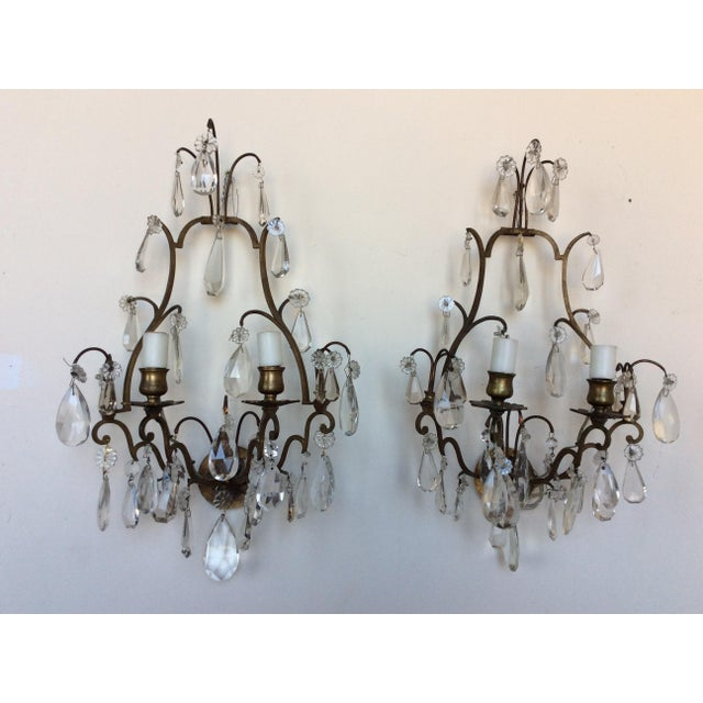 French Bronze & Crystal Wall Sconces - Set of 6 - Image 7 of 8