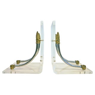 Modernist Brass and Lucite Bookends - A Pair