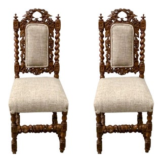 Antique English Barley Twist Side Chairs - a Pair