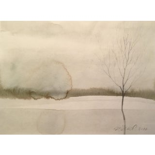 Frozen Pond Watercolor Painting