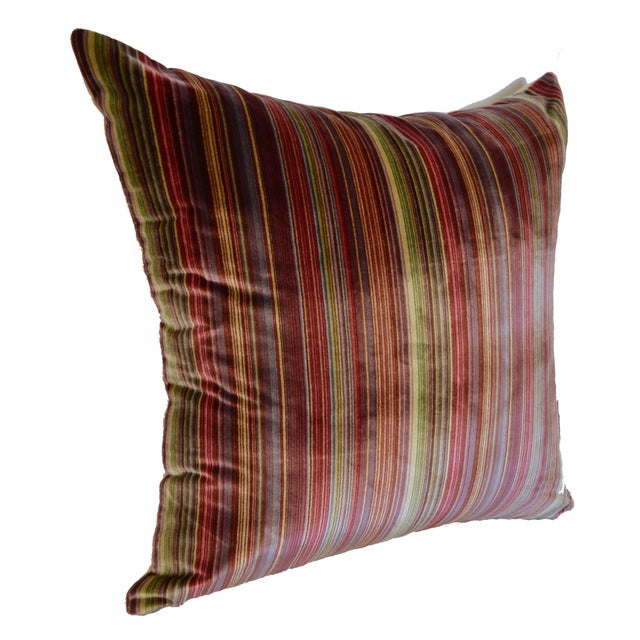 Scalamandré 100% Silk Velvet Rainbow Stripe Pillow - Image 10 of 10