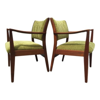 1960s Mid-Century Upholstered Walnut Chairs - A Pair