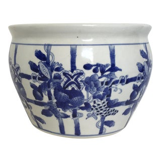 Blue and White Chinoiserie Cachepot / Planter