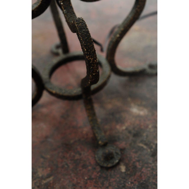 Image of Wrought Iron Torchieres With Mica Shades - A Pair