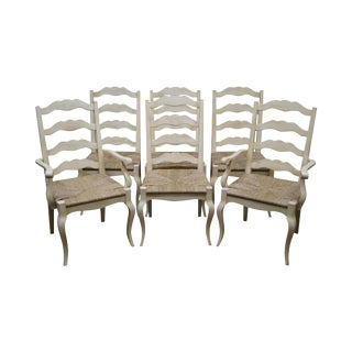 French Country Painted Ladder Back Rush Seat Dining Chairs - Set of 6