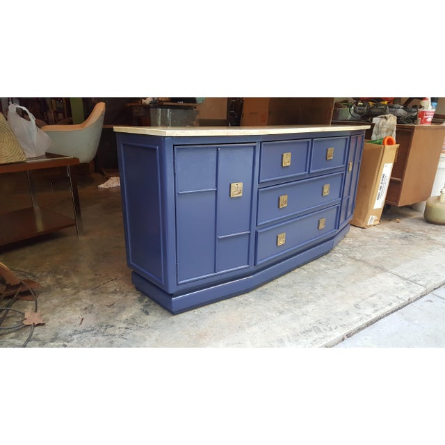 Vintage Campaign Regency Marble Top Painted Sideboard - Image 6 of 10