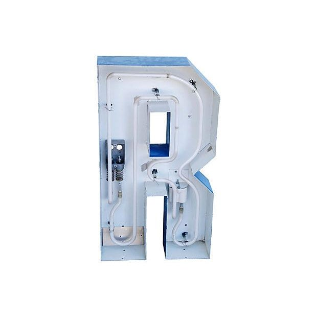 Image of Lg. Industrial Blue & White Metal Marquee Letter R