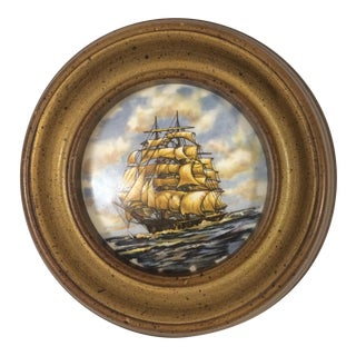Vintage Hand Painted Porcelain Ship Plaque
