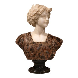 Large 19th Century Italian Carved Marble Bust of Young Lady by Goose