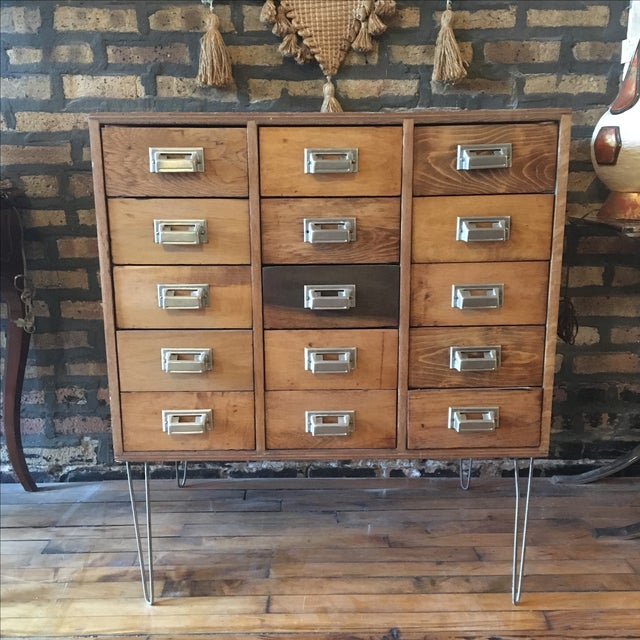 15 Drawer Card Catalog on Hairpin Legs - Image 2 of 11
