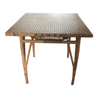 Vintage Mid-Century Rattan Wicker Card Table