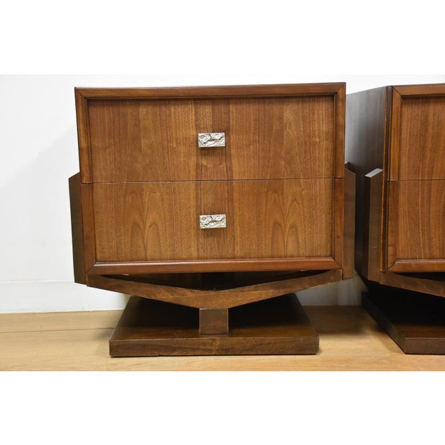 Mid-Century Brutalist Walnut Nightstands - A Pair - Image 10 of 11