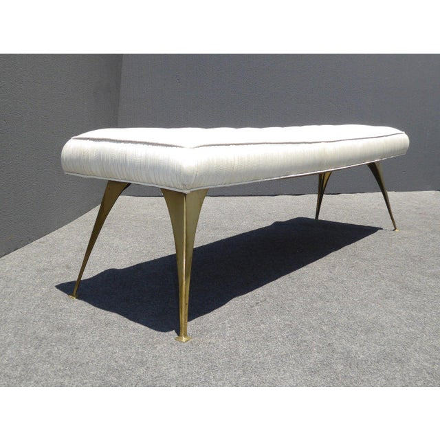 Jonathan Adler Mid-Century Modern Style Bench with Brass Legs - Image 4 of 11