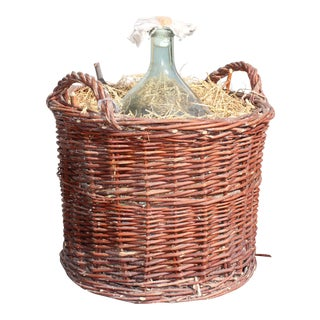Jumbo French Clear Glass Demijohn Bottle in Woven Grape Vine Basket.