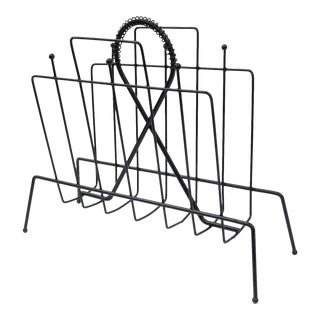 Vintage Mid-Century Modern Atomic Black Wire Metal Magazine Rack Holder