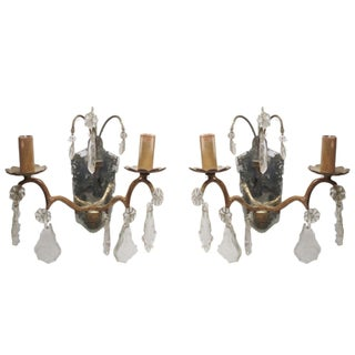 Italian Sconces W/Mirrors & Crystals - a Pair
